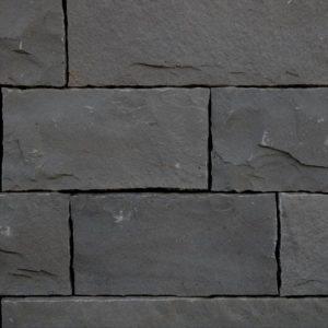 Mauerstein Basalt Halong Black, gesägt und gespalten, Kanten zurückgeschlagen