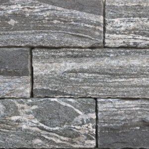 Mauerstein Gneis Silver Stripe, gesägt und gespalten, Kanten zurückgeschlagen