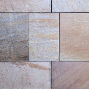 Terrassenplatte Quarzit Rio Dorado, spaltrau, Kanten gesägt