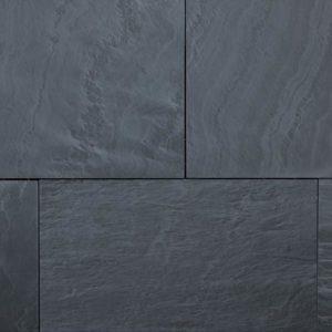 Terrassenplatte Schiefer Castillio Nero, gebürstet, Kanten gesägt