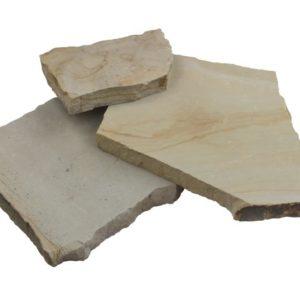 Polygonalplatte Sandstein Obernkirchen, gesägt, Kanten gespalten / gesägt, grau-gelb-ocker