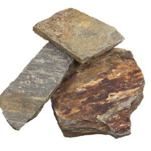 Polygonalplatte Gneis Stainz, spaltrau, rostbraun